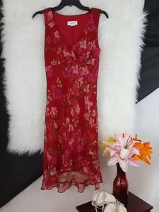 ALYN PAIGE Red V-Neck High Low Dress Size M